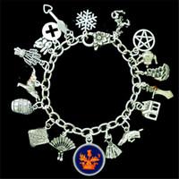 Wholesale Sail Bracelet - 6pcs Outlander Themed fan cross sailing ship snowflake Charm Bracelet silver tone