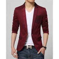 Wholesale Korean Suits For Sale - Wholesale- 2016 New Korean Fashion Slim fit Red Blazer for Men cotton coat suit jacket Male casual clothing on sale unique blazer