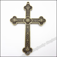 Wholesale Metal Antique Bronze Cross Charms - Wholesale- 10 pcs Vintage Charms Cross Pendant Antique bronze Fit Bracelets Necklace DIY Metal Jewelry Making