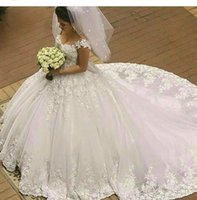 Wholesale White Dresses Train Puffy - 2016 Vintage Off the Shoulder Wedding Dress Sexy Ivory Lace Applique A Line Low Back Puffy Tulle Corset Chapel Bridal Gowns Free Shipping