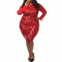 Wholesale Sexy Night Apparel - Plus Size XXXL Red Gold Champagne Sexy Sequins Dress Bandage Bodycon Night Club Vestidos Exotic Apparel Ukraine Vestido De Festa W374472