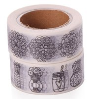 Atacado- 2016 2pcs / lot Doodle Color Flower Printing Washi Tape Papelaria 2 * 10meter Kawaii Scrapbooking Tools Álbum de fotos de máscara
