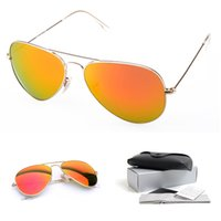Wholesale Beach Sales - Orange Mirror lens Sunglasses Fashion Pilot Beach Pop Club Men Women Sunglasses Metal Frames Wholesale Sales Glasses Lens Width 58mm