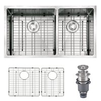 "Wholesale Undermount Stainless Kitchen Sinks - [From USA] Handmade 33""Lx19""Wx10""H 16 Gauge Stainless Steel Undermount 60 40 Offset Double Bowl Modern Kitchen Sink With Bottom Grid"