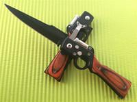 Wholesale Gun Shape Dhl - AK47 RIFLE Gun Shaped Folding blade knife Pakka Wood Handle 3Cr13 Plain Black finish Folder knives with LED FlashLight Free DHL