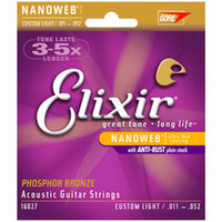 Wholesale Guitars 12 String Acoustic - Wholesale 12 sets Elixir 16027 Nanoweb Great Tone Long Life Phosphor Bronze .011-.052 Custom Light Acoustic Guitar Strings