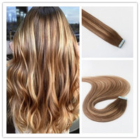 Wholesale best quality hair dye for sale - Group buy Balayage Color Remy Hair Straight High Quality Best Selling PU Tape Hair G Per Bundle In Stock