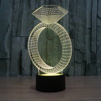 Wholesale 3d ring mouse for sale - Group buy 3D Diamond Ring Lamp Night Light RGB Lights DC V USB Charging th Battery