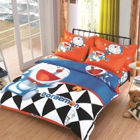 Wholesale Doraemon Bedding - Wholesale- HOT SALE! fibrics, Doraemon bedding set,3 4 pcs, bed clothes for bed, fast shipping!