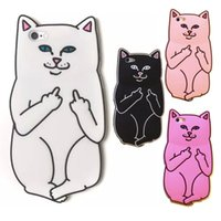 Wholesale Iphone Cases Silicon Animals - New 3D Soft Silicon Cat Case For iPhone7 6 Plus 5G 4 Cartoon Animals Rubber Middle Finger Capa Back Cover Cases White Black Hot Pink