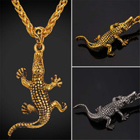 Wholesale Stainless Crocodile - U7 Crocodile Cayman Pendant Necklace Gold Plated Stainless Steel Chain Animal HipHop Jewelry Necklace Perfect Men Cool Accessories GP1549