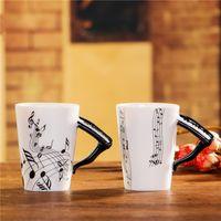 cadeaux de musique chine achat en gros de-Personnalisé Piano Musique Bone China Mug 240ml Céramique Café Tasse À Thé En Porcelaine Zakka Nouveauté Pour Cadeau Café Teatime Bureau Décor