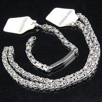 bisutería de oro para hombre al por mayor-Cool garantizado 316L de acero inoxidable para mujer para hombre traje de oro de plata collar de cadena de joyería de moda conjunto