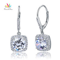 Wholesale created diamond earrings - Peacock Star 2.5 Carat Round Cut Created Diamond Earrings Solid 925 Sterling Silver Bridal Wedding Dangle Jewelry CFE8122