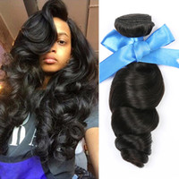 Wholesale Human Hair Extensions Packaging - Loose Wave Hair Weft Crochet Human Hair Weaves Bundles Brazilian 100% Remy Human Virgin Hair Extensions Packaging 3PCS Natural Color
