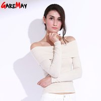 Wholesale Strapless Sweaters - Sweater For Women Knitted Pullovers Off Shoulder Sweater Women's Clothes Blusas De Feminina Strapless Slash Neck GAREMAY 7118