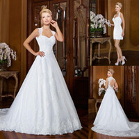 New Arrival A Line Wedding Gowns with Beaded Appliques Wedding Dresses with Detachable Skirt Backless Bridal Gowns