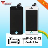 montage montieren großhandel-für iPhone 5 LCD-Anzeigen-Touch Screen Analog-Digital wandler Vollversammlung mit dem Hörer-Anti-Staub-Masche frei installiertem Schwarz-weißem freiem DHL-Verschiffen