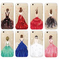 Para o iPhone 7Plus 7 6Plus 6 6S 5S SE Vestido de noiva Fashion Girl Classy Girl Sparkle Diamond Soft Phone Case Fundas Coque Cover