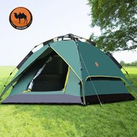 Wholesale Camping Gazebo Tent - Wholesale- Camel 3-4 person large automatic family tent quick open camping tent sun shelter gazebo beach tent for Advertising exhibition
