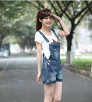 Wholesale Woman Korean Short Pants - Wholesale- 2017 plus size Korean summer lady loose ripped denim overalls casual denim shorts pants suspenders Jumpsuits Rompers women jeans