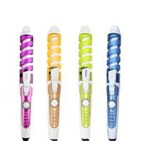 elektrikli fırça styler toptan satış-100-240 V Elektrikli Sihirli Saç Şekillendirici Araçları Fırça Saç Bigudi Rulo Pro Spiral Curling Ütüler Değnek Kıvırmak Styler Güzellik Aracı