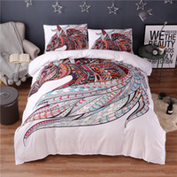 Wholesale Horse Machine - Colorful Horse Printing Abstract Bedding Set White Duvet Cover Set 3pcs Double Queen King Size Bedclothes Hippie Gypsy Beddings
