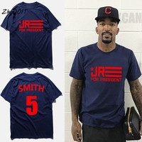 Wholesale Plain Shirt Men - T-shirt men JR SMITH 5# t shirt for president letters deep blue short sleeves plain round neck mens basketball t-shirts,tx2339