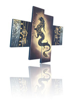 Wholesale Dragon Paint - 4 piece of panel Chinese yellow dragon home decor hand-painted oil painting hanging right away