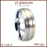 Wholesale Mens Tungsten Brushed Rings - New Arrival Tungsten Carbide Domed Mens Bands Plated 2 Thin Gold Lines Brush Polished Ring for Men and Women Comfort Fit Size 5#-15#