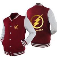 Wholesale Hot Anime Breast - Wholesale- Spring Baseball Coats The Flash hoodie Anime Justice League Hoodies Men Sweatshirts Hot Sale USA EU size Plus size