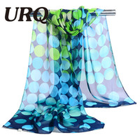 Wholesale chiffon muslim scarf - Wholesale- chiffon scarf print big dot women's scarf muslim lady brand design spring and autumn patterns cape shawl wrap 2017