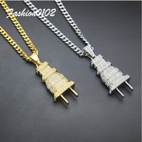 Men Iced Out Full Rhinestone Crystal Gold Silver Couleur Plug Pendentif Collier Fashion Hip hop Pendentif 24