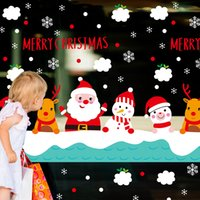 Wholesale Christmas Snowman Wall Decals - DIY Christmas Decoration Christmas snowman Santa Claus Window wall sticker Carved Gift Removable Windows art Sticker home Decor Wholesale