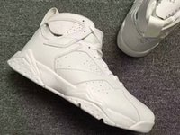 2017 mais novo hull DS Air Retro 7 PURE MONEY Men Basquete Shoes Branco Metallic Silver Real Leather Sneakers Com Caixa Original Big