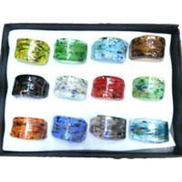 mischen sie matchringe großhandel-Handgemachte bunte Folie Spot Glas Ringe Spiel mit Kleidung, einzigartige Murano Glas Schmuck Mixed Design Pack von 12st