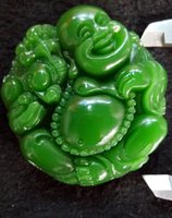Wholesale Carved Face Necklaces - China's xinjiang hotan jade Buddha carved pendant hang free shipping D1