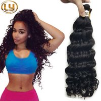 Wholesale Natural Indian Hair Bulk - Ly Brazilian Human Hair Human Braiding Hair Bulk 3 Pieces Lot Free 1 Pieces Deep Curly No Attachment Hair Extensions Bundles