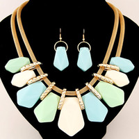 Candy Color Fashion Jewelry Sets Geometirc Colliers Pendants Multilayer Statement Necklace Drop Earrings Sets For Women
