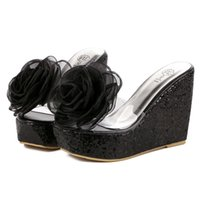 Wholesale high heels platform rose - N251 Black Rose Platform Sandal Women Transparency Paillette Slipper Woman Casual Slipper Fashion Trifle Wedge Platform High Heels