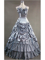 Wholesale Satin Night Clothes - Hot Seller Green Southern Belle Victorian Period Satin Ball Gown Dress Reenactment Clothing Lolita Costume