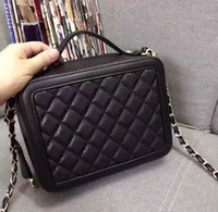 Wholesale Numbered Locks - New wholesale serial number cowhide caviar real leather top quality cosmetic case chain evening bag handbag shoulder bag messenger bag plaid