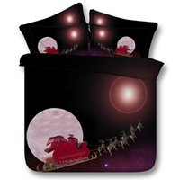 Wholesale christmas queen comforters - 3D Dreamlike Moon Christmas Elk Santa Claus Deer Printed Bedding Set Twin Full Queen King Size Duvet Cover Set Pillow Shams Comforter Galaxy