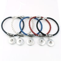 Wholesale Copper Toggles - New Endless Genuine Leather Snaps Bracelets Magnetic Braided Bangles Fit 18 20MM Snaps Buttons Charms Jewelry For Women ZE027