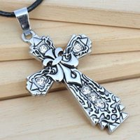 Wholesale Men S Cross Pendants - Titanium steel diamonds carved cross necklace men 's brand jewelry Europe and the United States youth fashion pendant leather rope jewelry