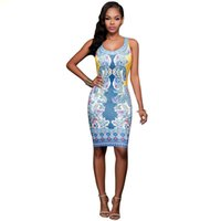 Wholesale Summer Dresses Sexy Body - Summer Bodycon Dress 2017 Printed Sleeveless O-Neck Tank Sexy Dress Slim Body Con Knee-Length Party Dresses Woman Clothing