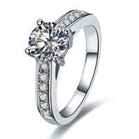 ingrosso tagli diamanti brillanti-Anello da donna in argento con diamanti sintetici taglio brillante rotondo 1ct vintage