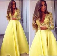 Wholesale Two Piece Abaya - 2018 Elegant Yellow Dubai Abaya Long Sleeves Evening Gowns V neck Lace Dresses Evening Wear Prom Party Dresses
