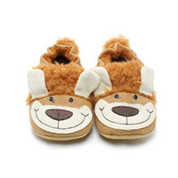 Wholesale Shoes Baby Dog - Delebao Warm Flock Cartoon Style Prewalkers Baby Boy And Girl Shoes Big Brown Smile Dog Soft Sole Baby Shoes