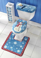 Wholesale toilet ornaments - 3Pcs  Lot Christmas Decorations 2016For Home Santa Toilet Seat Cover Rug Bathroom Se Santa Claus Merry Christmas Ornament